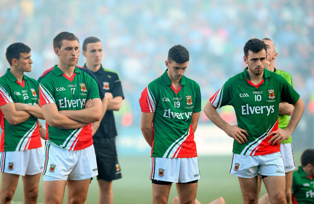 Mayo players look dejected after defeat by Dublin in the 2013 All-Ireland football final Picture: Sportsfile