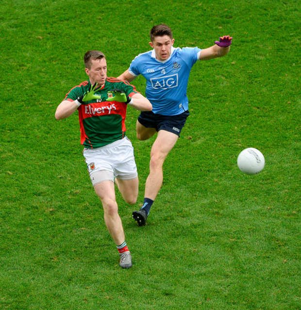 Cillian O'Connor of Mayo in action against Dublin's David Byrne during the All-Ireland SFC Final at Croke Park yesterday Photo: Sportsfile