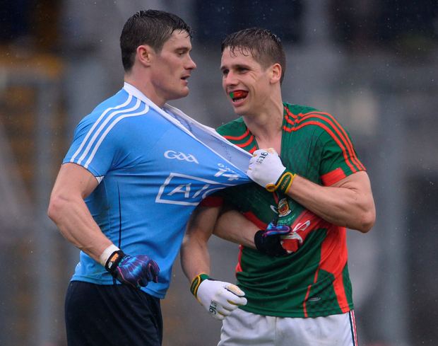 Lee Keegan of Mayo and Diarmuid Connolly of Dublin in a tussle