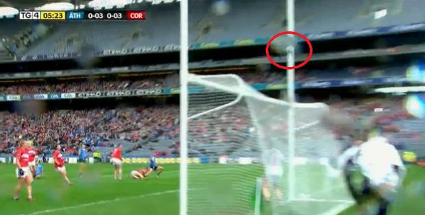 TG4 pictures show the ball inside the upright from Carla Rowe's shot.