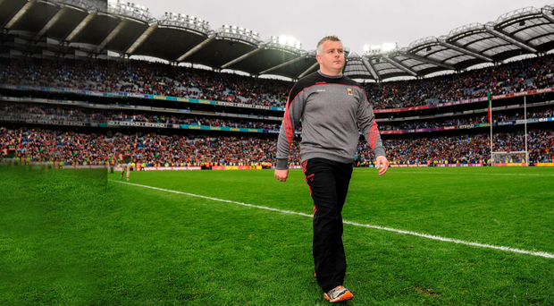 Mayo manager Stephen Rochford leaves the field following the GAA Football All-Ireland fina between Dublin and Mayo