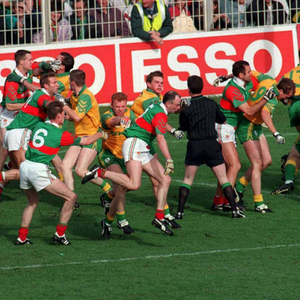 Meath and Mayo players clash in the early stages of the 1996 All-Ireland SFC final replay