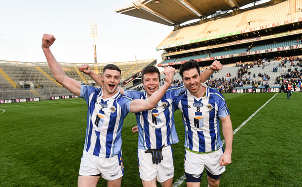 Aran Waters, Robbie McDaid and Michael Macauley show their delight after winning All-Ireland club final last March. Pic: Sportsfile