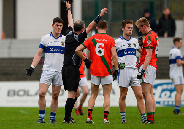 St Vincent's Diarmuid Connolly receives a black card from ref Niall Ward during yesterday's AIB Leinster Club SFC quarter-final game against Carlow's Palatine at Netwatch Cullen Park, Carlow. Pic: Daire Brennan/Sportsfile