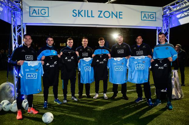 Pictured at an AIG Skills contest were l-r: Ryan Crotty, Bernard Brogan, Paddy Andrews, Ben Smith, Eoghan O'Donnell, Liam Squire, Reiko Ioane and Liam Rushe. Pic: Sportsfile