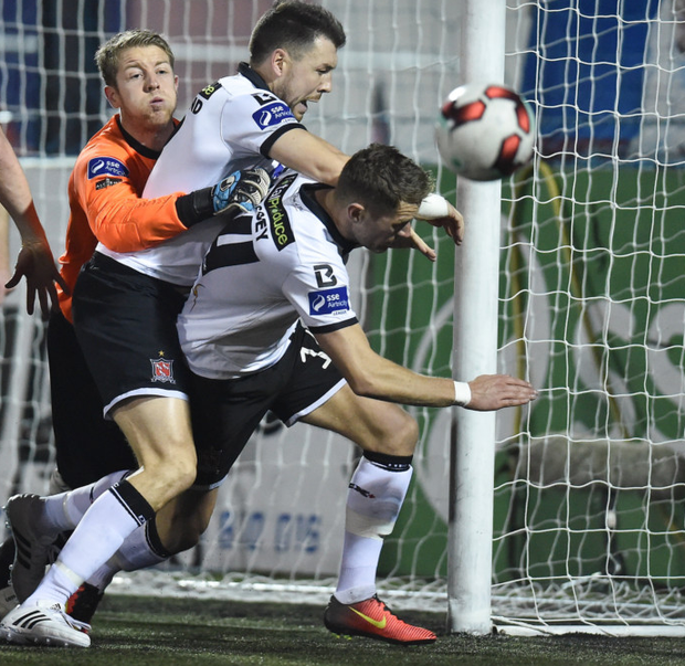 Dundalk's Brian Gartland and Dane Massey (r) battle with Bohs' Shane Supple during their SSE Airtricity League Premier Division game at Oriel Park in Dundalk last month.