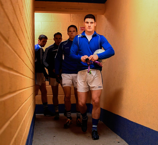 St Vincent's are led out by their captain Diarmuid Connolly ahead of the recent AIB Leinster Club SFC semi-final against St Columba's at Glennon Bros Pearse Park in Longford Pic: Sportsfile
