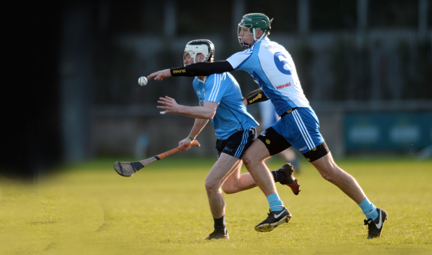 Caolán Conway in action for Dublin against Chris Crummey of the Dubs Stars during the Dublin Bus/Herald hurling match at Parnell Park last Sunday. Both players could be in Walsh Cup action for the Dubs at the same venue tonight. Pic: Caroline Quinn.