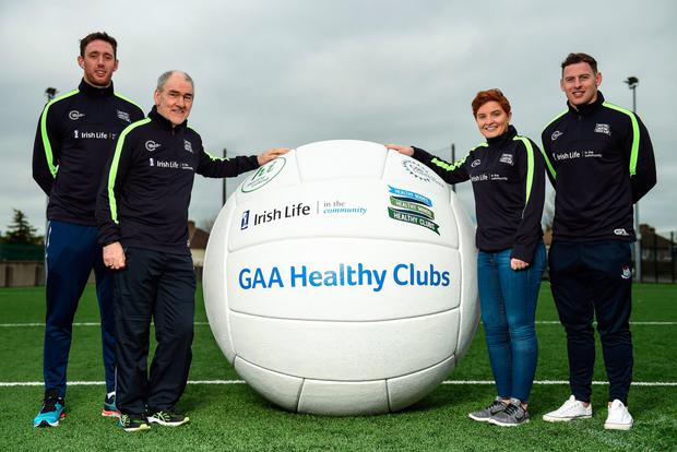 Kilkenny hurler Michael Fennelly, Tyrone football manager Mickey Harte, Dr Aoife Lane, Chairperson of the Women's Gaelic Players Association and Head of Department of Sport and Health Science in Athlone IT and Dublin footballer Philly McMahon at the GAA Healthy Clubs launch. Pic: Sportsfile
