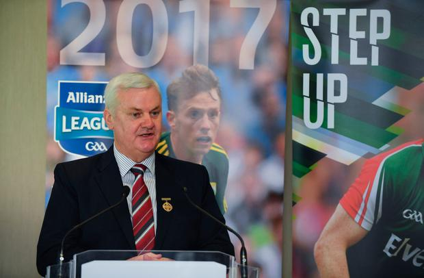 GAA President Aogán Ó Fearghail speaking at the 2017 Allianz Football League Launch in Croke Park. Pic: Sportsfile