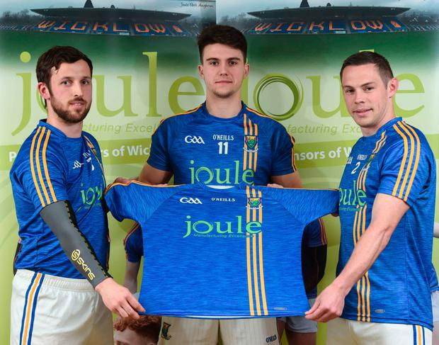 Wicklow players (l-r) Stephen Kelly, Ross O'Brien and John McGrath at the Wicklow GAA new jersey sponsor announcement Picture: Sportsfile