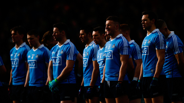 Dublin players line up before the Allianz Football League Division 1 Round 3 match between Donegal and Dublin at Mac Cumhaill Park in Ballybofey last Sunday. Photo: Stephen McCarthy/Sportsfile