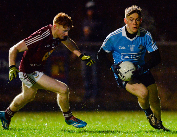 Dublin's Con O'Callaghan takes on Ronan Wallace of Westmeath during their Leinster U21FC quarter-final. Photo by Piaras Ó