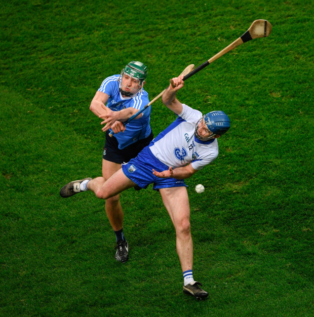 Michael Walsh of Waterford in action against Dublin's Chris Crummey during the Allianz Hurling League Division 1A match between Dublin and Waterford at Croke Park
