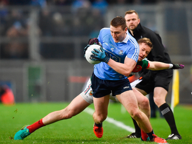 John Small of Dublin in action against Donal Vaughan of Mayo during the Allianz Football League Division 1 at Croke Park on Saturday night Picture: Sportsfile