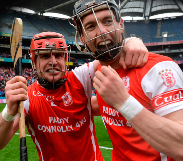 David Treacy (left) and Mark Schutte of Cuala celebrate after the AIB All-Ireland Club SHC final victory over Ballyea at Croke Park