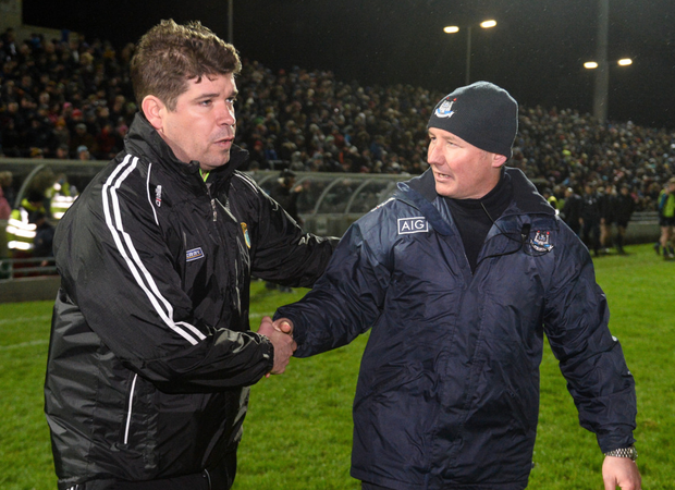 Kerry manager Eamonn Fitzmaurice and Dublin manager Jim Gavin shake hands after their draw in Tralee last month