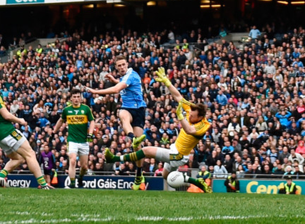 Dublin's Paul Mannion shoots to score his side's goal. Photo: Sportsfile