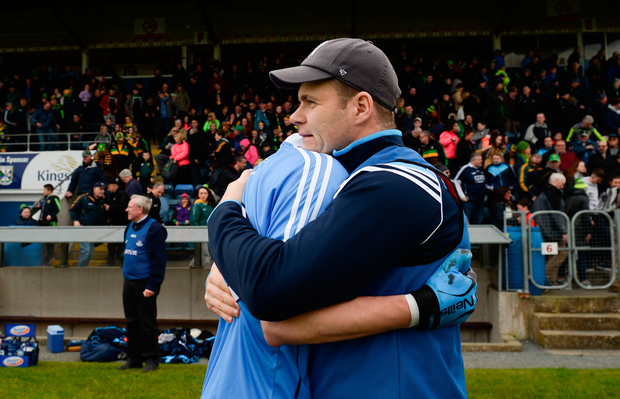 Dublin manager Dessie Farrell celebrates with Glenn O'Reilly after the EirGrid All-Ireland U21FC semi-final victory over Donegal at Kingspan Breffni Park last Saturday. Pic: Sportsfile