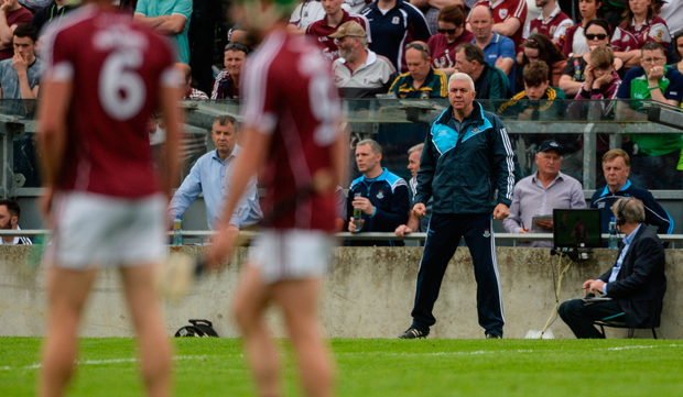 A tense Ger Cunningham on the sideline in Tullamore. Photo: Sportsfile