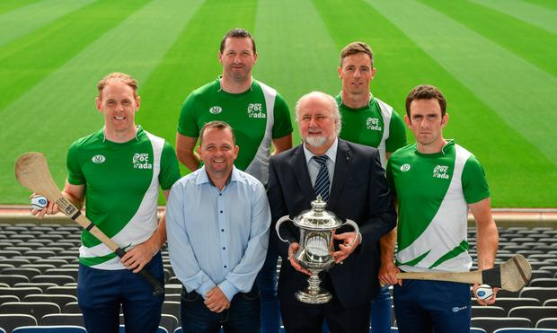 At the M. Donnelly Poc Fada Finals launch in Croke Park (l-r) Kevin Moran of Waterford, Wexford hurling manager Davy Fitzgerald, Brendan Cummins of Tipperary, Martin Donnelly of MD Sports, Anthony Nash of Cork and James McInerney of Clare. Pic: Sportsfile