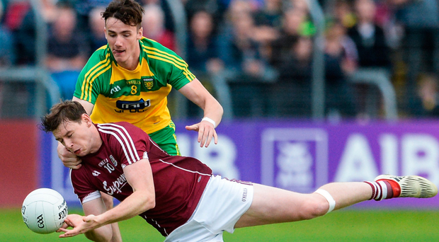 Galway's Thomas Flynn in action against Donegal's Jason McGee during their All-Ireland SFC Round 4A match at Markievicz Park, Sligo last week. Photo: Sportsfile