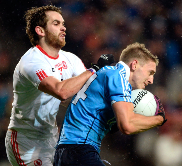 Tyrone's Ronan McNamee in action against Dublin's Eoghan O'Gara during the Allianz Football League Division 1 clash at Croke Park last February