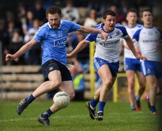 Dublin's Jack McCaffrey fires home his late winning goal in the NFL against Monaghan in St Tiernach's Park, Clones last April