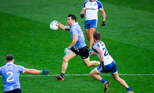 Dublin's Michael Darragh Macauley powers through the heart of the Monaghan defence following his introduction last Saturday. Pics: Sportsfile
