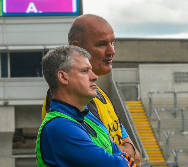 Roscommon manager Kevin McStay (l) and selector Liam McHale in the dying minutes of the game. Photo by Ramsey Cardy/Sportsfile
