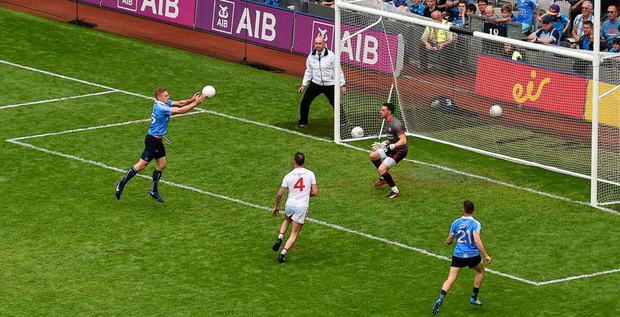 Eoghan O'Gara scores Dublin's second goal during the All-Ireland SFC semi-final against Tyrone at Croke Park on Sunday. Photo: Dáire Brennan/Sportsfile