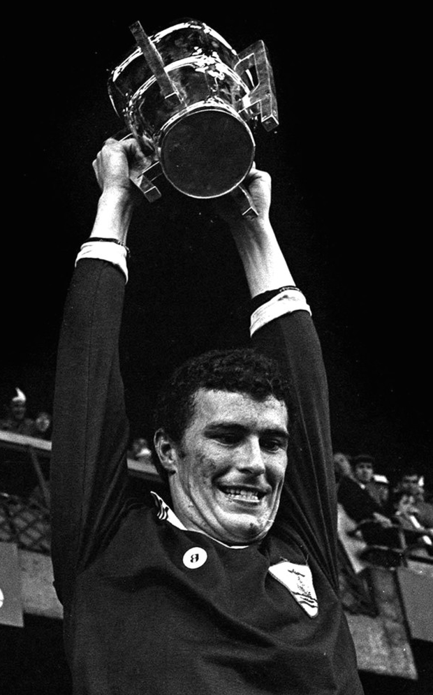 Galway captain Joe Connolly lifts the Liam MacCarthy Cup after victory over Limerick. Photo: Sportsfile