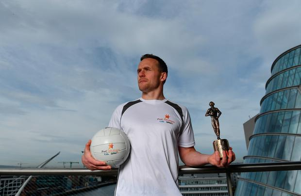 Mayo's Andy Moran with his trophy for the PwC GAA/GPA Player of the Month for August. Pic: Sportsfile
