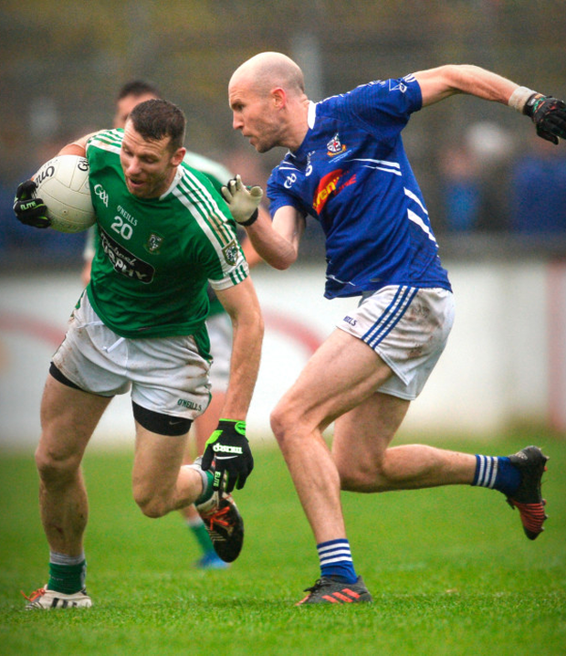 Moorefield's Ronan Sweeney in action against Celbridge's Hugh McGrillen during the Kildare SFC Final at St Conleth's Park in Newbridge, Kildare on Sunday. Pic: Sportsfile