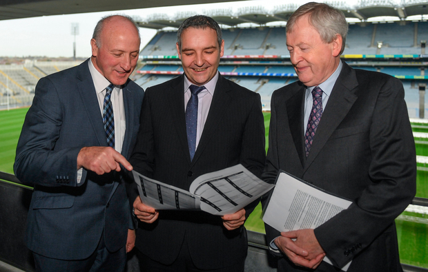Feargal McGill, GAA Director of Club Player and Games Development, with George Cartwright, Chairman of the CCCC (left) and Ard Stiúrthoir Paraic Duffy (right) at Croke Park for the unveiling of the GAA Fixtures Master Plan 2018