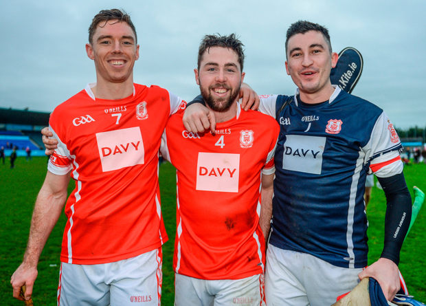 Cuala teammates (l-r) Paul Schutte, Oisín Gough and Seán Brennan after victory over St Martin's at Parnell Park. Photo: Sportsfile