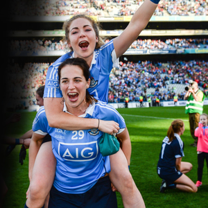 Sinéad Finnegan (top) and Denise McKenna celebrate after victory in the TG4 Ladies Football All-Ireland Senior Championship final against Mayo at Croke Park. Pic: Sportsfile