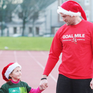Five-year-old Saoirse Moore joined Dublin footballer Jack McCaffrey and Irish and Leinster rugby forward Jamie Heaslip at the launch of the 2017 GOAL Miles in Irishtown Stadium yesterday. The popular annual fundraiser, which is now in its 36th year, will be staged at more 130 locations nationwide over the Christmas and New Year period. To find your local GOAL Mile, visit www.goalglobal.org Pic: Leon Farrell/Photocall Ireland