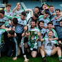 Moorefield players celebrate with the cup after the AIB Leinster Club SFC final win over St Loman's at O'Moore Park in Portlaoise. Pic: Sportsfile