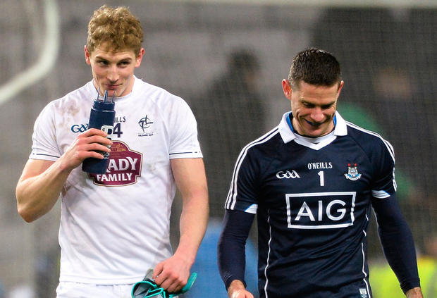 Kildare's Daniel Flynn and Dublin's Stephen Cluxton chat as they depart the pitch after Saturday night's NFL1 duel in Croke Park