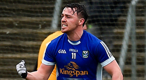 IT'S THERE: Conor Moynagh of Cavan celebrates his goal during the Allianz Football League Div 2 match against Meath at Kingspan Breffni Park. Photo: Sportsfile