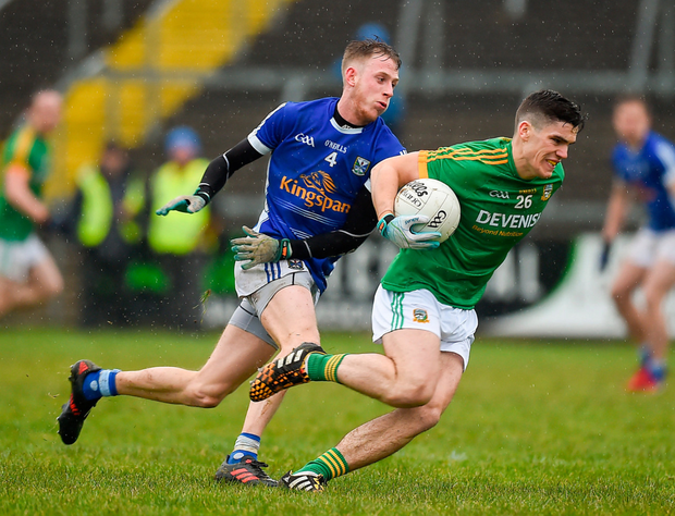 ON THE BURST: Donal Lenihan of Meath in action against David Phillips of Cavan