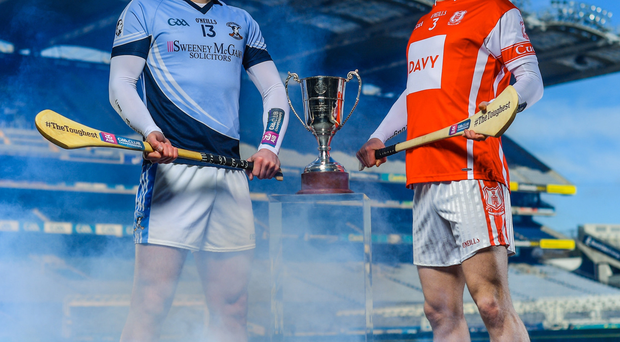 SILVERWARE ON THE TABLE: Kevin Downes of Na Piarsaigh, (left) and Cuala's Cian O'Callaghan come face-to-face today for the biggest prize in club hurling. As the two most recent winners of the Tommy Moore Cup, the final should be a far more even contest than the one-sided deciders served up over the last number of years
