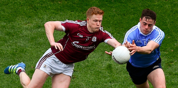 Hand to hand: Galway's Ciarán Duggan (left) in action against Dublin's Brian Howard during last Sunday's Allianz FL Division 1 final at Croke Park