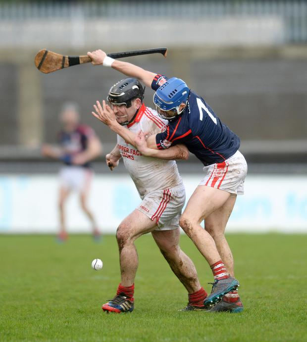 TIGHT MARKING: Aodhan McInerney of St Brigid's (left) in action against Cuala's John Sheanon, during the Dublin SHC match at Parnell Park Pic: Caroline Quinn