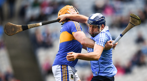 Dublin's Conal Keaney tries to force his way past Tipperary's Pádraic Maher during their Allianz HL Division 1 quarter-final at Croke Park. Pic: Sportsfile