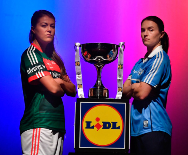 Rival camps: Mayo's Sarah Rowe and Dublin's Sinéad Aherne