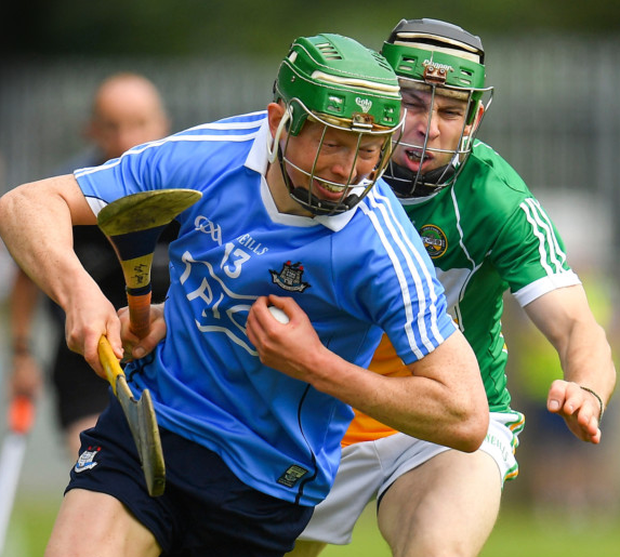 IN CONTROL: Dublin's Fergal Whitely gets away from Offaly's Tom Spain during yesterday's Leinster SHC tie at Parnell Park. Pics: Sportsfile