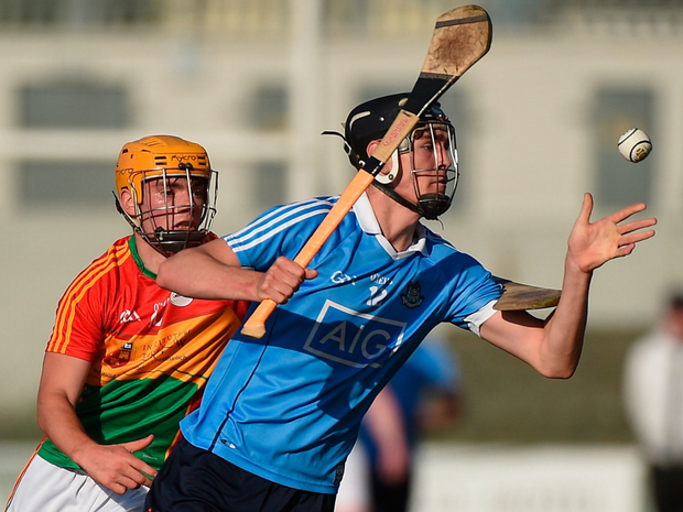 Forward thinking: Dublin's Ronan Hayes gets to the sliotar ahead of Carlow's Cathal Tracey