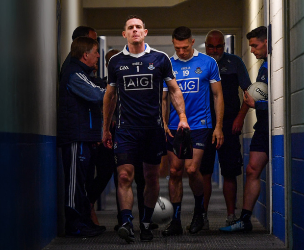 MAIN MAN: Captain Stephen Cluxton leads his side out ahead of the Leinster SFC tie between Wicklow and Dublin at O'Moore Park in Portlaoise, Co Laois. Pic: Sportsfile